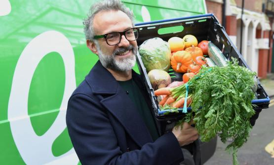 Massimo Bottura with the vegetables for Refettorio in London (photoThe Felix Project)