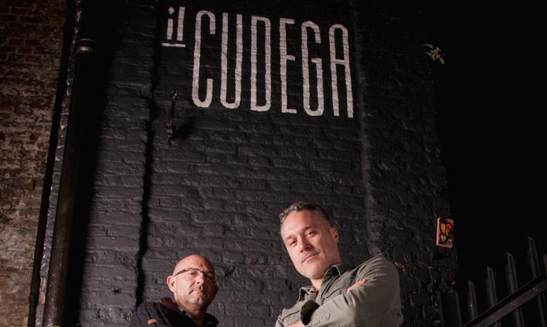 Luca Gaggioli and Giovanni Brighi, opened Il Cudega last September in London Fields, Hackney, address Arch 358-Westgate street, a deli, wine bar and restaurant of Lombardy cuisine, (telephone  +44.(0)20.72416599, open tuesday to sunday 9-18h). The name comes from the colourful Milanese dialect expression  which means 'pork scratching' (photo Anteater PR)