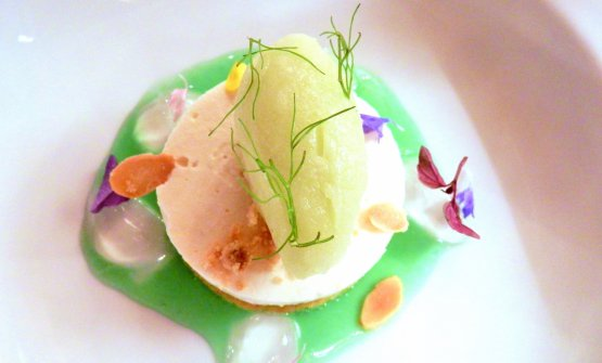 Vita Health, a dessert made with a reduction of green celery, aloe gelatine, biscuit, semifreddo with almonds from Noto and fennel sorbet