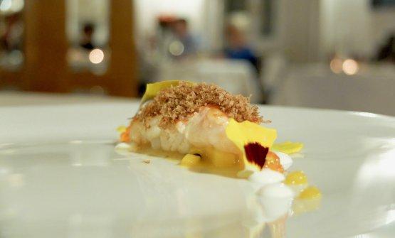 FantasticScampi, bottarga of lamb heart, trout roe and mango