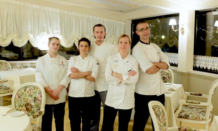 The kitchen staff at Opéra: new intern Giada Pellacini, Jessica Della Ratta, Guglielmo Regina, Loretta Fanella, Gabrio Dei