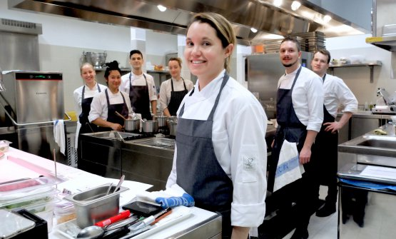 In the photo by Tanio Liotta, the brigade at Gucci Osteria in Florence. In foreground, chef Karime Lopez; behind her, left to right Tamara Rigo, Vanessa Chiu, Lorenzo Vendali, Hellen Wagner, Marko Sterlicchi and Nicola Montalti. Sous Mattia Agazzi is the only one missing