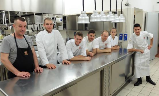 The brigade at Castello di Guarene: left to right Marcello Dobrovolsky, Leonardo Bielsa, Gianluca Palomba, Mattia Bini, Orce Ilijev, Francesca Boano and chef Gabriele Boffa. One member of the kitchen staff was missing, Luca Colombo