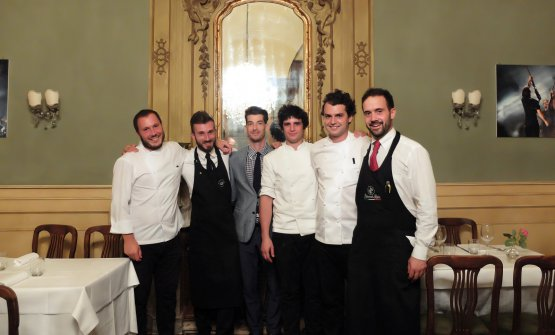 The team at Giglio in Lucca, a restaurant that's becoming increasingly popular: left to right Benedetto Rullo, Dani Grieco, Francesco Massagli, Stefano Terigi, Lorenzo Stefanini (with Rullo they form the trio of chefs) and Nicolò De Angelis. Photos by Tanio Liotta