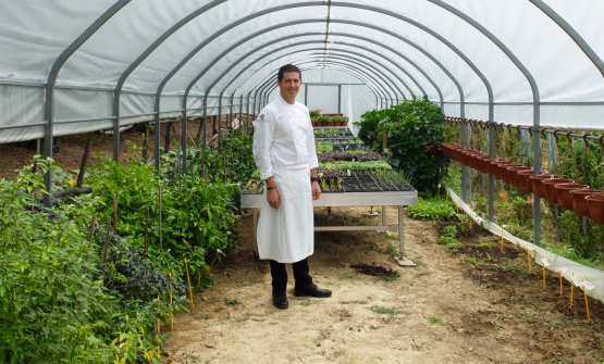Michelangelo Mammoliti in a photo by Tanio Liotta in the greenhouse at La Madernassa. In the set of rules he gives to his staff he commands: Each person is responsible for each single leaf, flower and herb in my vegetable garden. Respect my vegetable garden as if it were your own