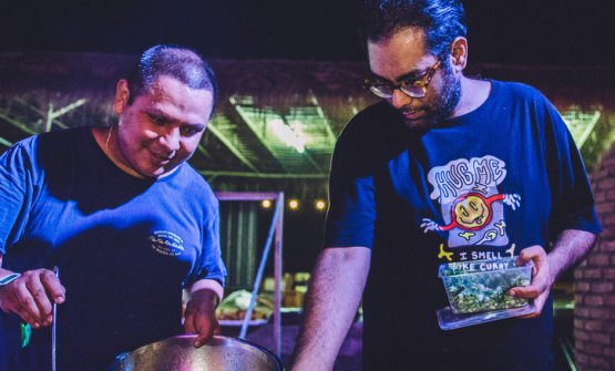 """Gaggan (on the right) with Japanese friend and colleague Takeshi """"Goh"""" Fukuyama. The two chefs will close their respective restaurants by the end of 2020, in order to open Gohgan in Fukuoka, Japan, the following year (photo wonderfruitfestival.com)"""