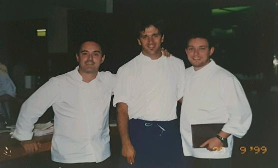 A historic photo, with a young Davide Oldani, in the middle, and Ferran and Albert Adrià. No doubt about the date: it's in the right corner at the bottom - 29th September 1999