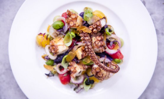 Octopus salad at Fiume, inside Battersea Power Station