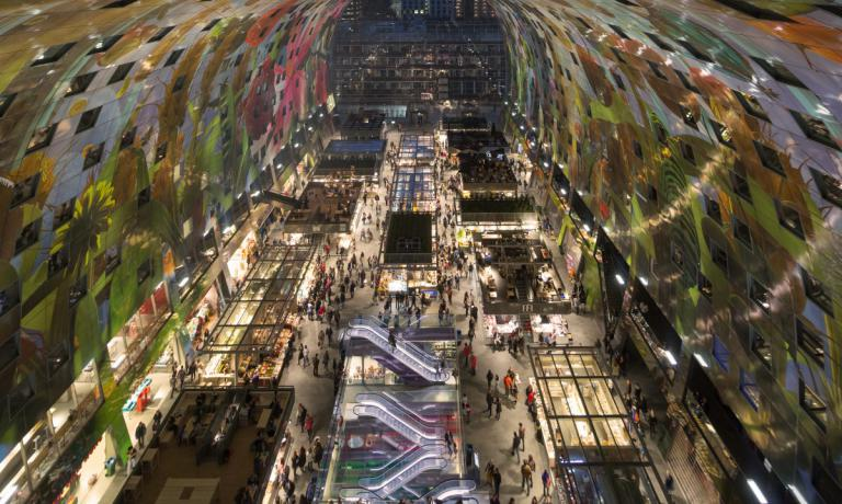 The futuristic Market Hall in Rotterdam is a beautiful site that opened in 2014. It�s a meeting place and an emblem of the city�s vocation for innovative food