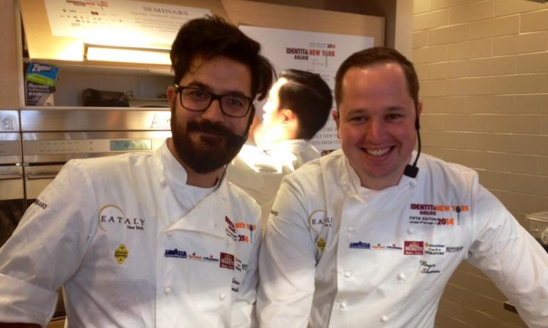Luciano Monosilio of Pipero al Rex and Bryce Shuman of Betony in New York. They both stole the scene at Eataly by making two dishes based on intense and strong traditional preparations, making them more harmonic and elegant