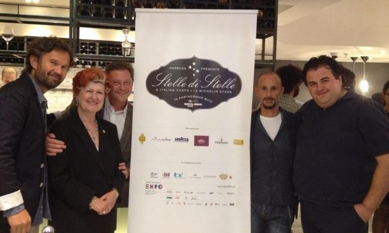 The 5 protagonists of Stelle di Stelle, lunches and dinners will be hosted in the restaurant on the lower ground floor of Harrods, in London, from this month until January 2015, one chef per month. Left to right, Carlo Cracco of Cracco in Milan (September) Annie Feolde of Enoteca Pinchiorri (December), Enrico Cerea of Da Vittorio in Brusaporto (October), Enrico Crippa of Piazza Duomo in Alba (January) and Gennaro Esposito of Torre del Saracino in Vico Equense (November)