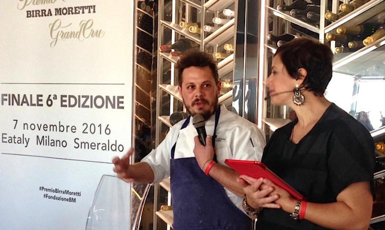 Francesco Brutto, chef at Undicesimo Vineria in Treviso, with Francesca Barberini at the finals of the Birra Moretti Grand Cru award in Milan, in November 2016
