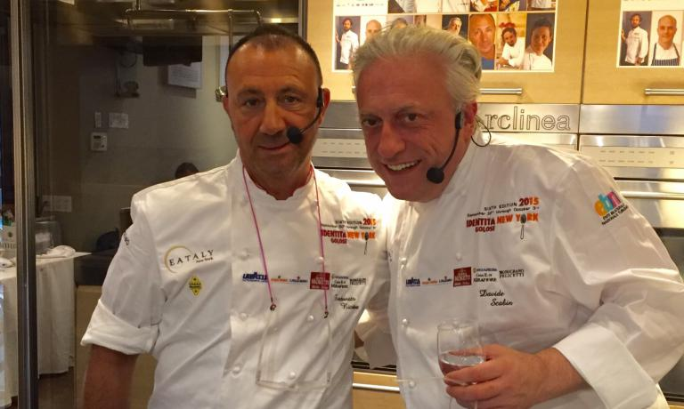 Fortunato Nicotra of Felidia and Davide Scabin of Combal.zero in Rivoli (Torino), the authors of a lesson focused on pasta: a soup with broken spaghetti for the Italian-American chef, two versions of precooked pasta (preserved in oil and in the pressure cooker) for the Piedmontese chef