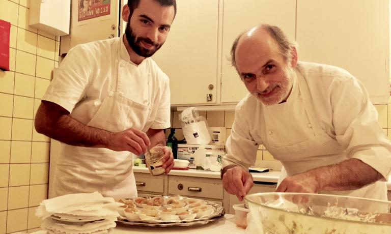 With his son Francesco, preparing some small tastings of Peaches in syrup with durum wheat cuturro with pistachios from Bronte and orange marmalade at the Italian Institute of Culture
