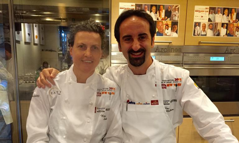 Rita Sodi, from Tuscany, at the helm of I Sodi in New York and Vito Mollica, chef at restaurant Il Palagio inside the Four Seasons in Florence and the Four Seasons in Milan. A beautiful lesson with a humble approach closes an edition of Identit� New York we'll remember for a long time