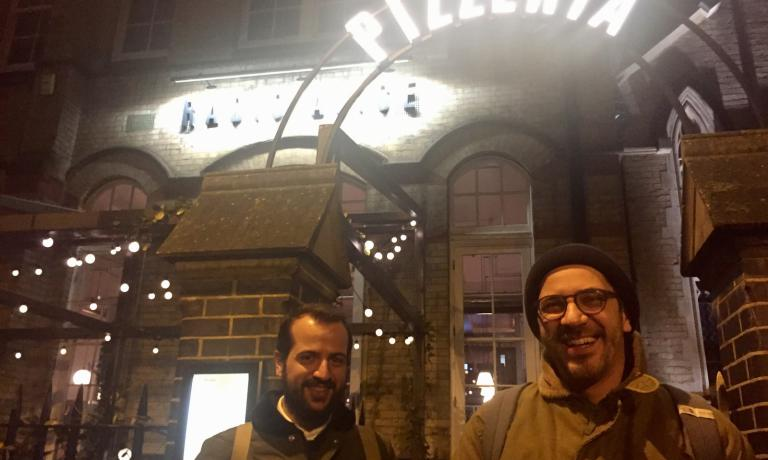 The entrance to Radio Alice at 16 Hoxton Square in Shoreditch, London. Launched with a soft opening on the 5th December, it's the sixth Berberè restaurant in 7 years, after Castel Maggiore, Bologna, Florence, Torino and Milan. In the picture, Matteo and Salvatore Aloe
