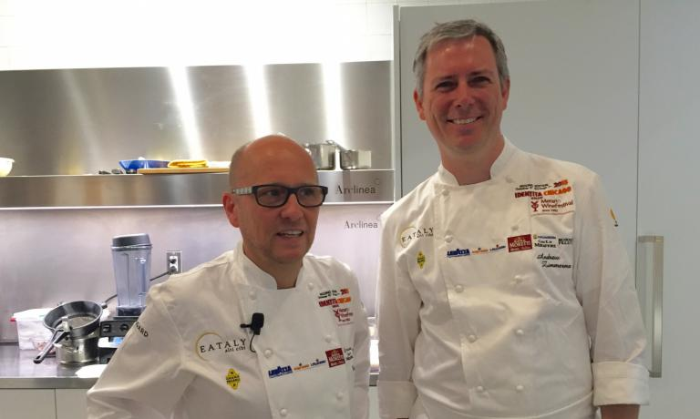 The protagonists of the first lesson at Identit� Chicago 2016: Heinz Beck of La Pergola in Rome and Andrew Zimmermann of Sepia in Chicago, a very effective demonstration of the wide horizons even a traditional preparation as fresh pasta can have