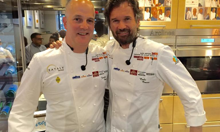 Jonathan Benno of restaurant Lincoln in New York and Carlo Cracco of the homonymous restaurant in Milan. The first explored the boundaries of salmon; the second successfully presented two dishes now in his menu in Milan: risotto and salted codfish, two emblems of Vicenza