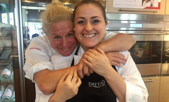 Ana Ros from Hisa Franko (Kobarid, Slovenia) and Caterina Ceraudo from Dattilo, near Crotone. They opened the 8th edition of Identità New York at Eataly Flatiron (photo Brambilla/Serrani)
