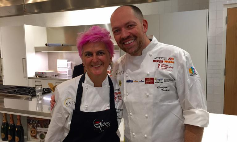 The protagonists of the last lesson in Chicago: Cristina Bowerman of Glass Hostaria in Rome and Giuseppe Tentori, chef from Milan working in Chicago for over 20 years, and, among other things, chef at GT Fish & Oyster, 4 blocks away from Eataly Chicago