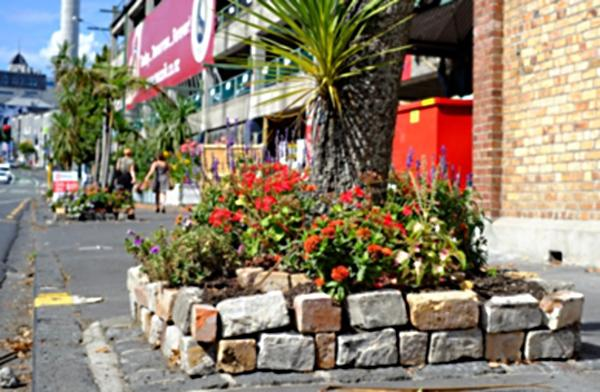One of the many flowerbeds created by local guerrilla gardeners in Auckland