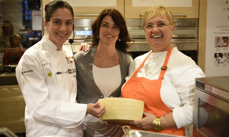 Elisabetta Serraiotto, Marketing & Comminication Manager of�Consorzio di Tutela Grana Padano, with�Rosanna Marziale and�Lidia Bastianich at�Identit� Golose New York 2014 (photo credit Francesca Brambilla e Serena Serrani)
