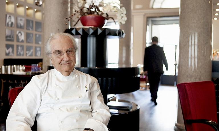 Gualtiero Marchesi portrayed by Luisa Valieri inside Marchesino, the restaurant next to Teatro alla Scala in Milan