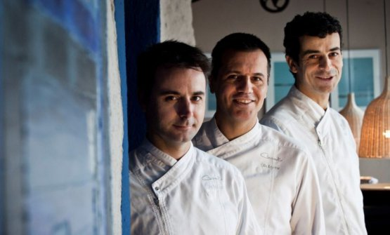 The three chefs portrayed in the other restaurant: Compartir, in Cadaquès