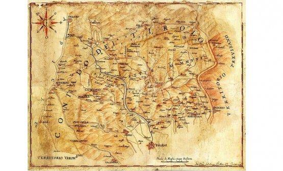 The Altopiano dei Sette comuni in a map of the territory of Vicenza by Giandomenico Dall'Acqua, 17th century. Vicenza,Biblioteca Civica Bertoliana