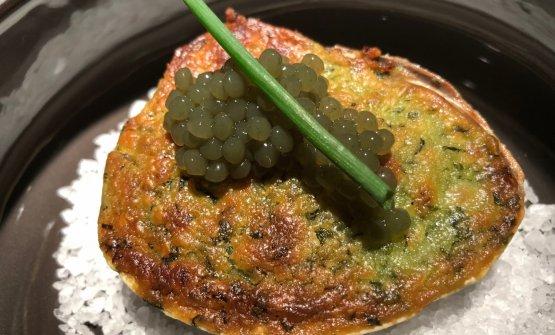 Breton clam, herb panure,spherifications of wakame seaweed
