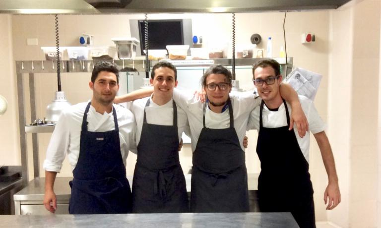 The very young staff at the restaurant inside the Eoalian Hotel Milazzo: left to right, chef de partie Samuel Capone, 22-year-old chef Davide Guidara, sous Francesco Coppola and Gabriele Del Bono, an intern who has just left the kitchen. The other chef de partie Carlo Alberto Patrizi, a regular staff member, is missing. At the Eolian they're trying an interesting test by grafting contemporary and north European techniques and concepts with Sicilian tradition