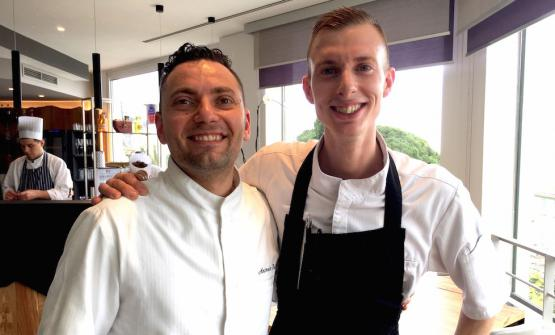 Antonio Buono (30, from Naples) and Davide Garavaglia (28, Milanese). They're respectively co-chef and saucier at Mirazur in Mentone, the restaurant of Argentinian Mauro Colagreco, at number 4 in the World's 50Best 2017, 2 Michelin stars. The pastry chef is Roberta Gesualdo, 32 from Rome