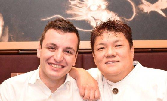 Biassoni with Seiji Yamamoto, chef at Ryugin, born in 1970