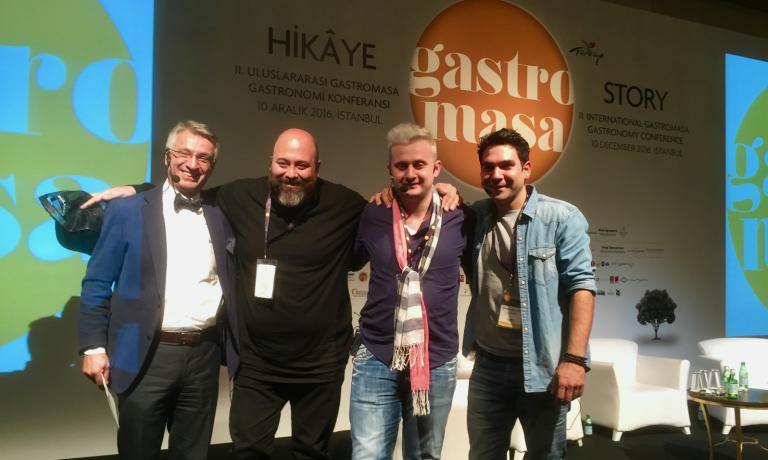 Left to right, chef Vedat BaÅŸaran, who presented the event, with three rising stars in Turkish cuisine working abroad, Somer SivrioÄŸlu, Serkan Güzelçoban and Fatih Tutak. They're the representatives of a movement, let's call it the New Turkish Cuisine, which aims to present the excellence of a great culinary tradition, through innovative, often contaminated ideas. This is one of the most interesting aspects that emerged during the second edition of the Gastromasa International Conference of Gastronomy that has just ended in Istanbul, right before the city was shocked by the bombing