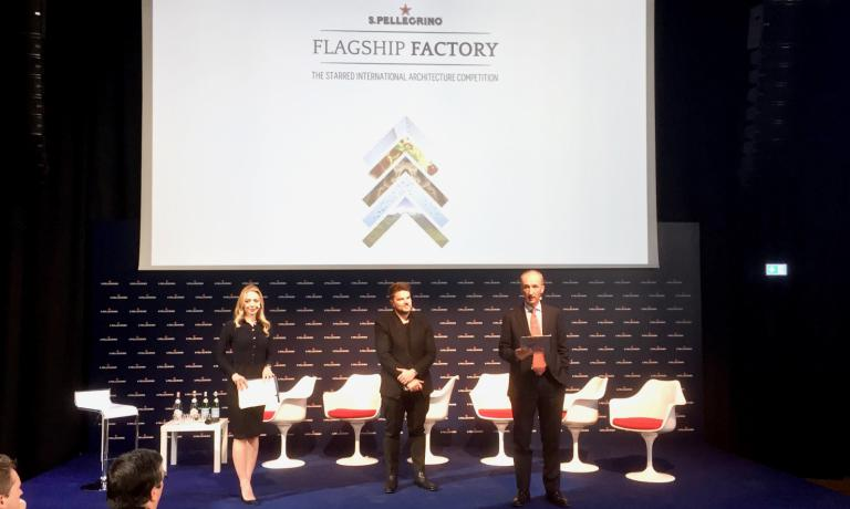 Starchitect Bjarke Ingels, in the middle, with Sanpellegrino's CEO Stefano Agostini, during the presentation of the new S.Pellegrino Flagship factory