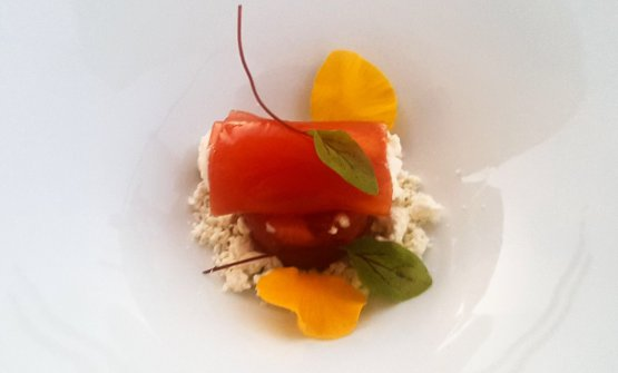 Red tuna tartare, terriccio with extra virgin olive oil, cow's milk ricotta and gelatine of cherry tomatoes