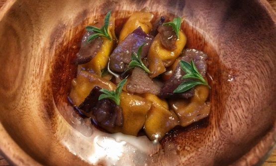 Ravioli del plin filled with smoked ricotta, lardo and santoreggia