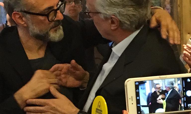 Massimo Bottura with Alain Ducasse on Tuesday, during the party at Eataly. On this occasion, the new editions of Identit� in New York and Chicago were also presented