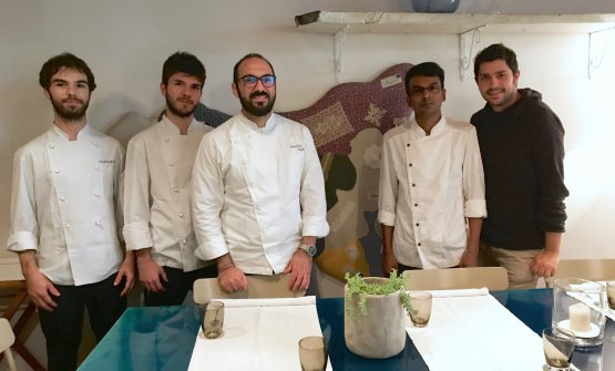 The brigade at Gagini: left to right Gherardo Chirivino, Andrea Lo Nardo, chef Gioacchino Gaglio, Jonny Uddin and Filippo Vela, who works in the dining room and cellar with managers Michela Vitale and Michele Puleo, plus Laura Carollo and Alessandro Scarpulla. The latter two are not in the photo, the same applies for sous Alessandro Fanara and pastry chef Francesco Mango
