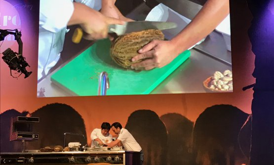 Mitsuharu Tsumura, to the left, of Maido in Lima, is opening a mocambo on the stage of Gastromasa 2017