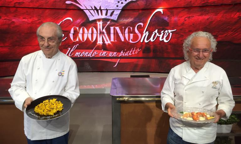 Gualtiero Marchesi and Ezio Santin: the two Italian fine dining masters visited Identità Expo, and then continued to the Rai studios for The Cooking Show
