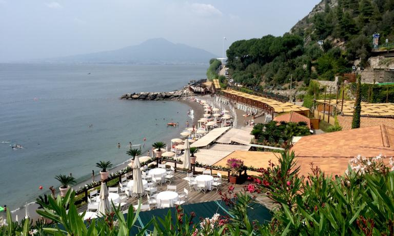 A view from the restaurant's veranda. With Vesuvius at the back