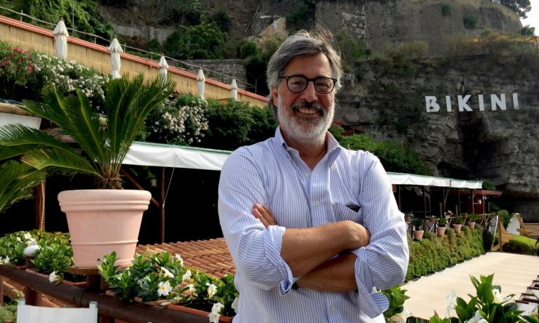 Giorgio Scarselli, born in 1969, restaurant manager at Bikini, the beach resort founded by his grandfather Franco 60 years ago in Vico Equense, in Sorrento's Peninsula (Naples). Third generation of fishermen, he works hard to elevate seafood culture, stressing seasonality and promoting scarcely used species