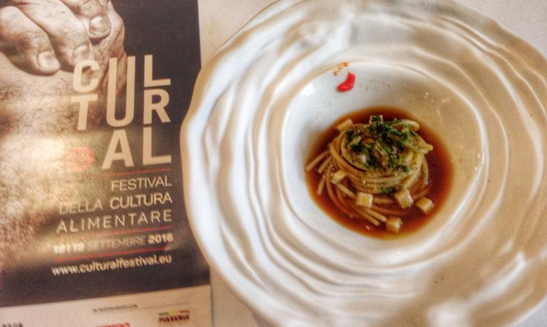 One of around 60 dishes presented during Cultural: a modern and completely vegetal take on Pasta alla Norma, by Sicilian Paolo Barrale. The chef works in Irpinia, at Marenn� in Sorbo Serpico (Avellino)