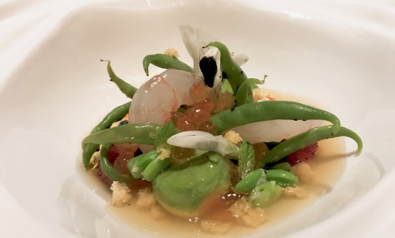 Prawn salad, broad beans, tomato water and wild strawberries