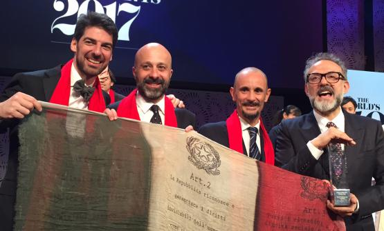 The four Italian chefs (there's also Puglisi, but he's in Copenhagen) among the World's 50 Best: Alajmo, Romito, Crippa and Bottura
