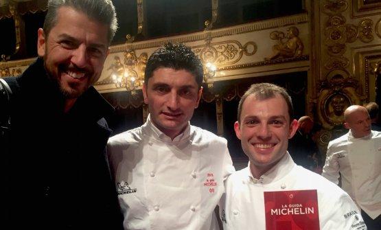 Between Andrea Bertonand Raffaele Lenzi,chef at Berton al Lago, new-star,there's Andrea Apreaof Vun at Park Hyatt, promoted to a second star