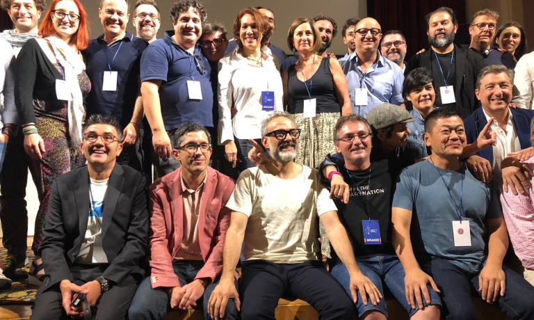 A group photo with the chefs at the thirdBasque Culinary World Prize