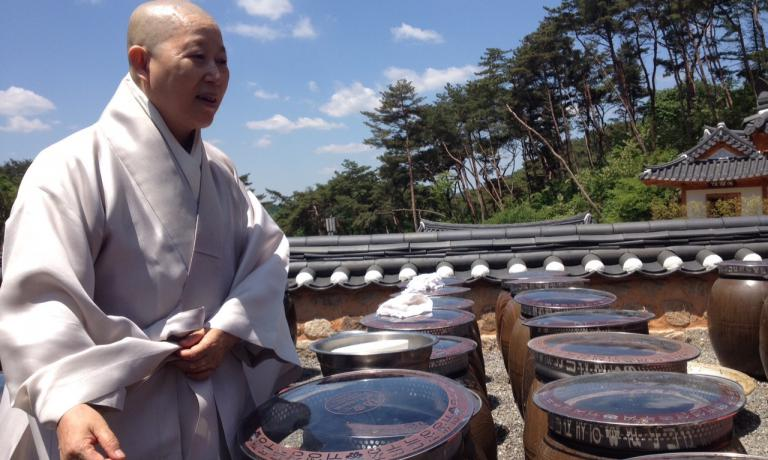 Venerable Buddhist nun Gye-Ho in front of dozens of onggi, traditional Korean containers used to store fermented and marinated food. This is the most exciting moment in our visit to th temple of Jingwansa, just outside Seoul. A day dedicated to the discovery of the millennial secrets of local Buddhist cuisine