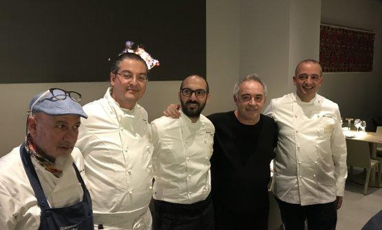 Ferranthe other night with the four guest chefs representingLe Soste di Ulisse:Angelo Treno, Damiano Ferraro, Gioacchino GaglioandPino Cuttaia